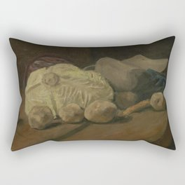 Still Life with Cabbage and Clogs Rectangular Pillow