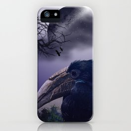 Spooky night, mixed media art with birds iPhone Case