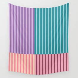 Retro Color block stripes 1 - Green, Purple, Orange and red Wall Tapestry