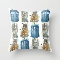 dr who Throw Pillows featuring Dr Who by Iris Illustration