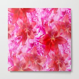 Peony And Lily Flower Bouquet In Vibrant Pink And Red Colors #decor #society6 #homedecor Metal Print