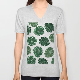 Tropical Hand Painted Swiss Cheese Plant Leaves Unisex V-Neck