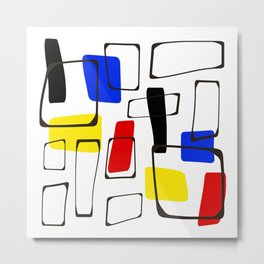 Eames Style Art Primary Colors Metal Print