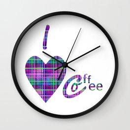 Coffee In Plaid Wall Clock