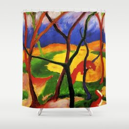 "Franz Marc ""Weasels At Play"" Shower Curtain"