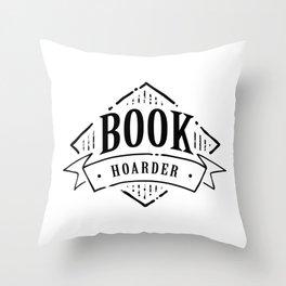 Book Hoarder Black Throw Pillow