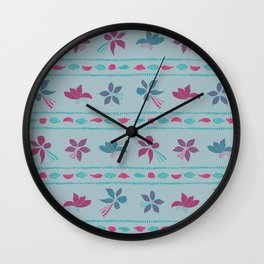 Pink and blue flowers II Wall Clock