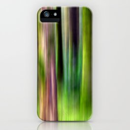 Motion Blur Trees in Green iPhone Case