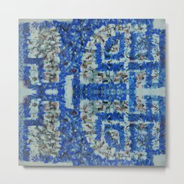 Abstract anarchism blue pattern Metal Print