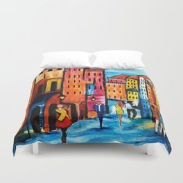 Afternoon Walk Downtown Duvet Cover