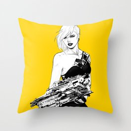 Badass girl with gun in comic pop art style Throw Pillow