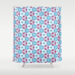 Flower-Kaleidoscope Blue Shower Curtain
