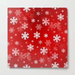 Light Red Snowflakes Metal Print