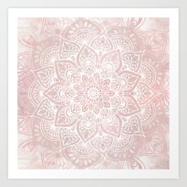 Mandala Yoga Love, Blush Pink Floral Art Print