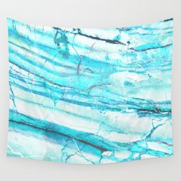 White Marble with Blue Green Veins Wall Tapestry