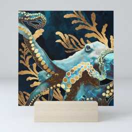 Indigo Octopus Mini Art Print