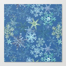 icy snowflakes on blue Canvas Print