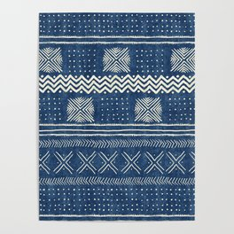 Mud Cloth Geometric Stripe Navy Poster