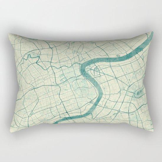 Shanghai Map Blue Vintage Rectangular Pillow