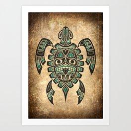 Vintage Teal Blue Haida Spirit Sea Turtle Art Print