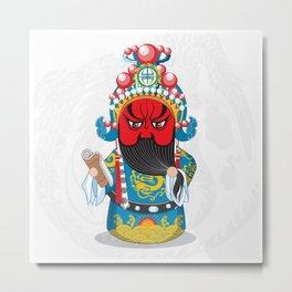 Beijing Opera Character GuanYu Metal Print