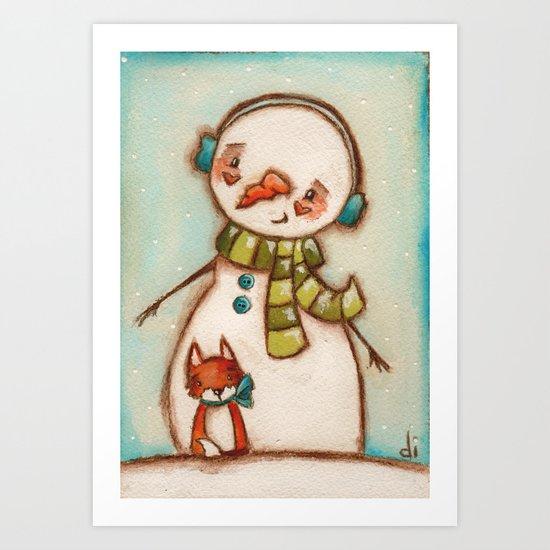 Fox and Friend - Snowman and Fox in the snow Art Print