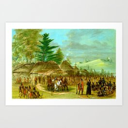 George Catlin Chief of the Taensa Indians Receiving La Salle Art Print