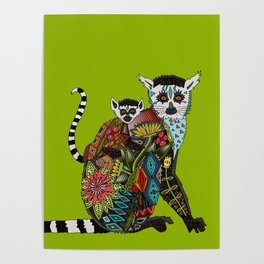 ring tailed lemur love lime Poster