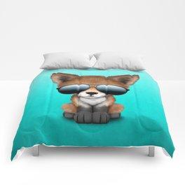 Cute Baby Red Fox Wearing Sunglasses Comforters