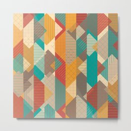 Geometric Geek Pattern - Squares, Stripes, Grids Metal Print