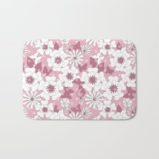 Delicate pink floral pattern. Bath Mat
