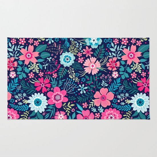 Amazing floral pattern with bright colorful flowerson a for Bright floral area rugs