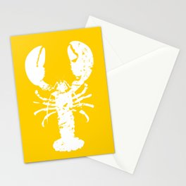 Yellow White Lobster Illustration Stationery Cards
