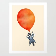 Raccoon and Balloon Art Print