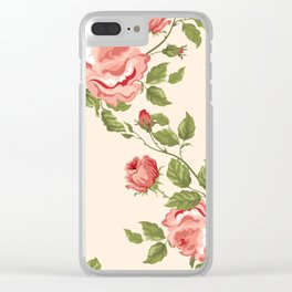 Vintage Pink and Red Roses Clear iPhone Case
