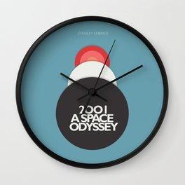 2001 a Space Odyssey - Stanley Kubrick, minimal movie poster, rétro film playbill, sci-fi Wall Clock