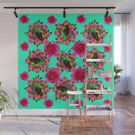 GREEN PEACOCK & PINK ROSE PATTERN ART Wall Mural