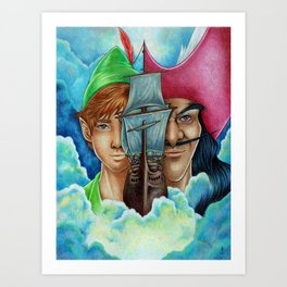 Peter Pan vs Captain Hook  Art Print