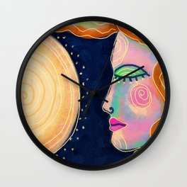 Woman and The Sun Abstract Digital Painting Wall Clock