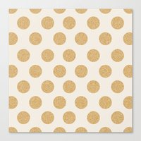 gold dots Canvas Prints featuring Glittering Gold Dots by Allyson Johnson