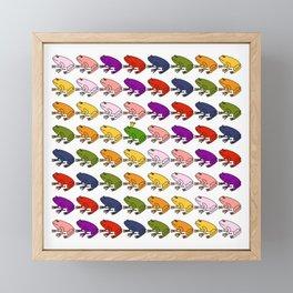 Rainbow Army of Frogs Framed Mini Art Print