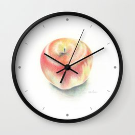 Apple drawn with color pencils Wall Clock