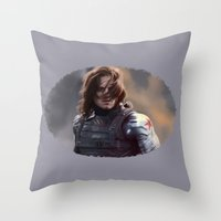 the winter soldier Throw Pillows featuring Winter Soldier by LindaMarieAnson