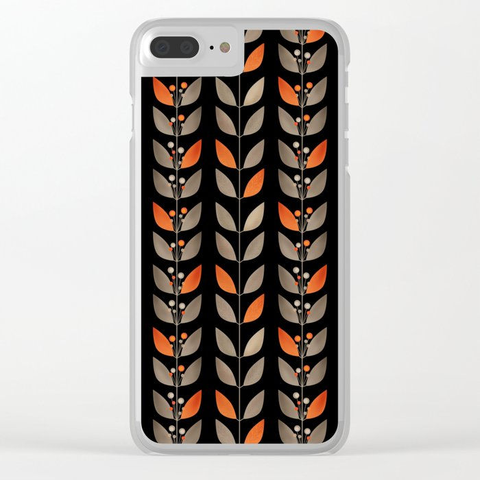 Retro . Berry sprigs on a black background . Clear iPhone Case