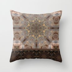 Copper Brown Terracotta Mandala and Tile Throw Pillow