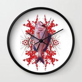 Red Berries Fish Wall Clock