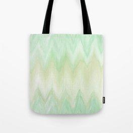 Hand painted mint green watercolor gradient chevron ikat Tote Bag