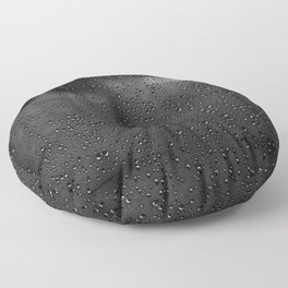 Black and White Rain Drops; Abstract Floor Pillow