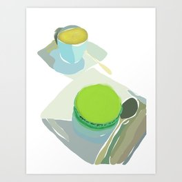 Cafe Noisette and Pistache Macaron Art Print