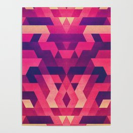 Abstract symmetric geometric triangle texture pattern design in diabolic future red Poster